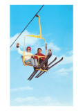 Couple on Ski Lift Premium Giclee Print