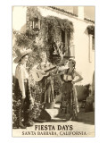 Fiesta Days, Women Singing, Santa Barbara, California Print