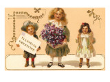Valentine Greetings, Victorian Children with Violets Posters