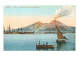 Naples Harbor with Smoking Vesuvius Prints
