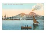 Naples Harbor with Smoking Vesuvius Prints