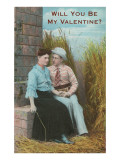 Will You Be My Valentine Seated Couple Poster