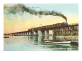 Train on Trestle over Green Bay, Wisconsin Poster