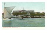 Sailboat, Ocean View Hotel, Block Island, Rhode Island Prints