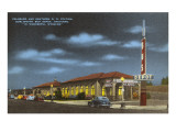 Night, Train and Bus Station, Cheyenne, Wyoming Poster