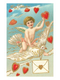 To My Valentine, Cupid Riding Dove Art