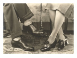 Man&#39;s and Woman&#39;s Feet and Shoes Prints