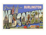Greetings from Burlington, Wisconsin Prints