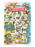 Map of Wisconsin, Attractions Prints