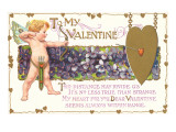 To My Valentine, Cupid with Violets Art
