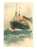 Steamship Hamburg-Amerika Crossing Ocean Art