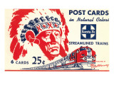 Indian Chief, Streamlined Train, Postcard Folder Prints