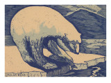 Woodcut of Polar Bear Print