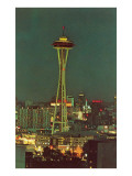 Night, Space Needle, Seattle, Washington Print