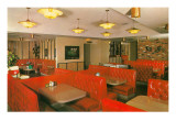 Diner Interior with Red Booths Poster