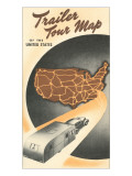 Trailer Tour Map of the United States Prints