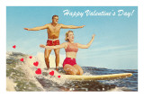 Happy Valentine's Day, Surfing Couple Art