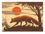 Woodcut of Fox Plakaty