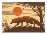 Woodcut of Fox Prints