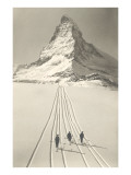 Lyžaři opouštějící Matterhorn Obrazy