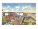 Boardwalk and Beach, Myrtle Beach, South Carolina Print