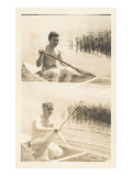 Men Canoing in Pond Posters
