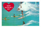 Happy Valentine Surfers Prints