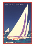Sailboat Poster, San Diego, California Prints