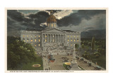 Moon over State Capitol, Columbia, South Carolina Prints