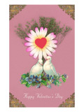 Happy Valentine's Day, Love Birds in Nest Poster
