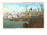 Waterfront, Mt. Rainier, Seattle, Washington Prints