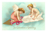 St. Valentines Greeting, Cupids Riding Arrow Posters
