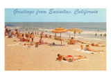 Beach Scene, Greetings from Encinitas, California Prints