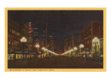 Night, Main Street, Salt Lake City, Utah Posters