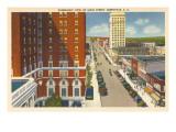 Panoramic View of Main Street, Greenville, South Carolina Poster