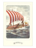 Viking Ship with Striped Sail Print