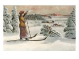 Esquiadora contemplando una pendiente Lámina