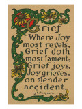 Shakespeare Quote on Grief, Joy Plakat