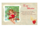 To My Valentine, Cupid Playing Heart Mandolin Print