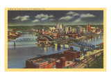 Night over the Point, Pittsburgh, Pennsylvania Poster