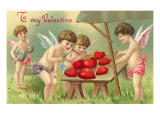 To My Valentine, Cupids Examining Hearts Prints