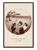 Children on Beach, Hotel del Coronado, San Diego, California Prints