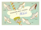 Fashion-Bilt Ladies' White Shoes Prints