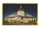Night, City Hall, San Francisco, California Posters
