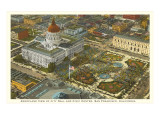 Aerial View, Civic Center, San Francisco, California Posters