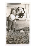 Toddler with Stuffed Panda Prints