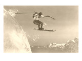 Airborne Skier over Mountains Poster