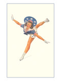 Lady Ice Skater with Patriotic Outfit Posters
