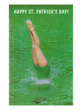 Happy St. Patrick's Day, Woman Diving into Green Print