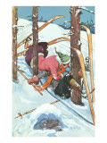 Couple Kissing While Crashing on Skis Posters